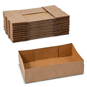 Paperboard 4 Corner Pop Up Small Food Tray for Holding Food at Stadiums or Theaters (25 Pieces)