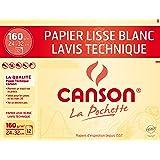 Canson Pochette Papier à Dessin Technique 160 g 12 Feuilles 24 x 32 cm Blanc Lisse