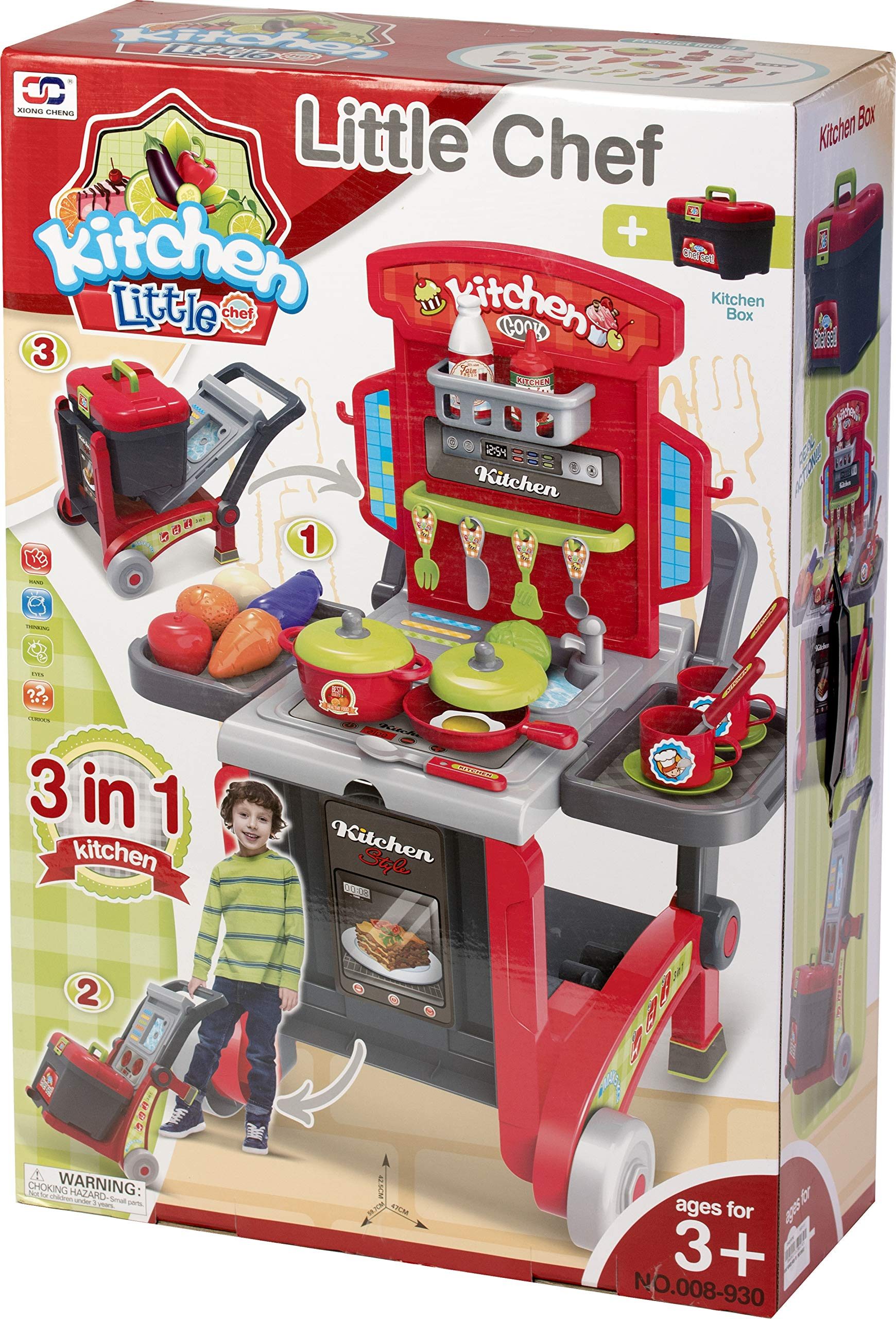 Kitchen Cook Grill Boys Playset Oven Stove, Vegetables, Pots & Pans, Cups, Utensils w/ Compact Carry Case by Kitchen Cook (Image #6)