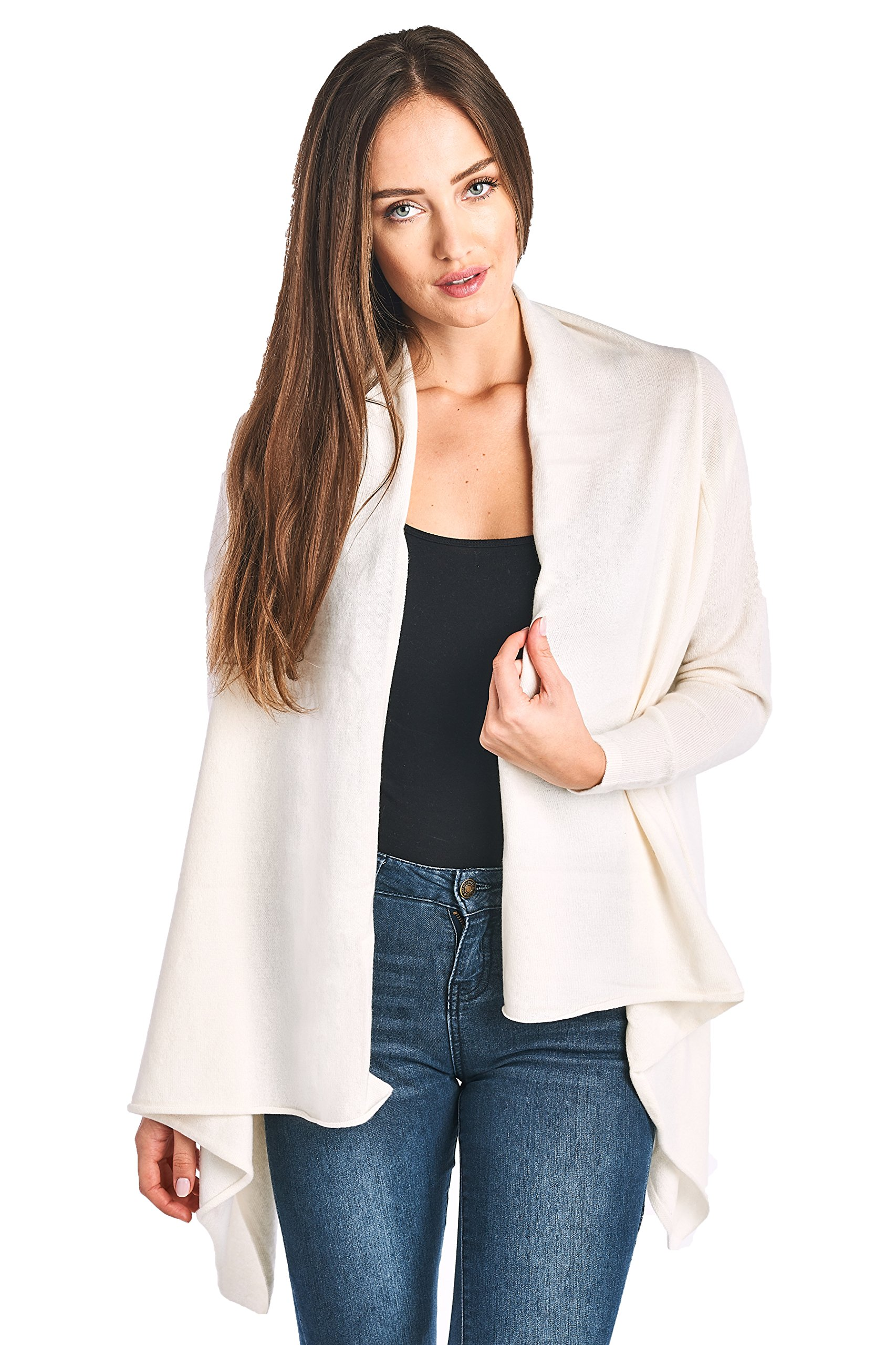 High Style Women's 100% Cashmere Long Sleeve Front Asymmetric Hem Open Cardigan Sweater (17616, Cream, S)