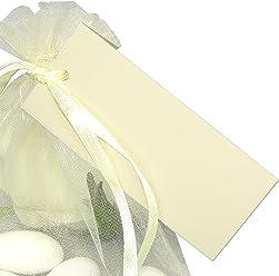 EinsSein 50x Geschenkanhänger Basic Creme Geschenkkärtchen Tischkarten Hochzeit Party