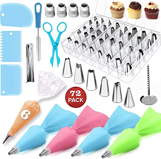 Russian Piping Tips Set,Reusable Coupler Pastry Bags Piping Nozzles Piping Tips Cake Decorating Supplies Kit Piping Bags and Tips-72 Stainless Steel Icing Tip Set