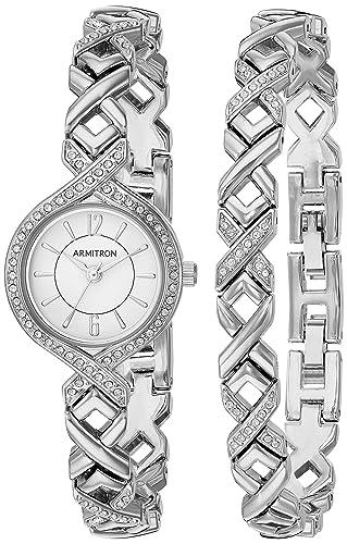 Amazon Com Armitron Women S 75 5412wtsvst Swarovski Crystal