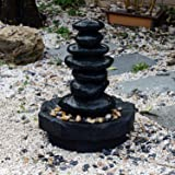 """Outsunny 28"""" Stacked Stone Indoor/Outdoor Waterfall Fountain w/ LED Lights"""