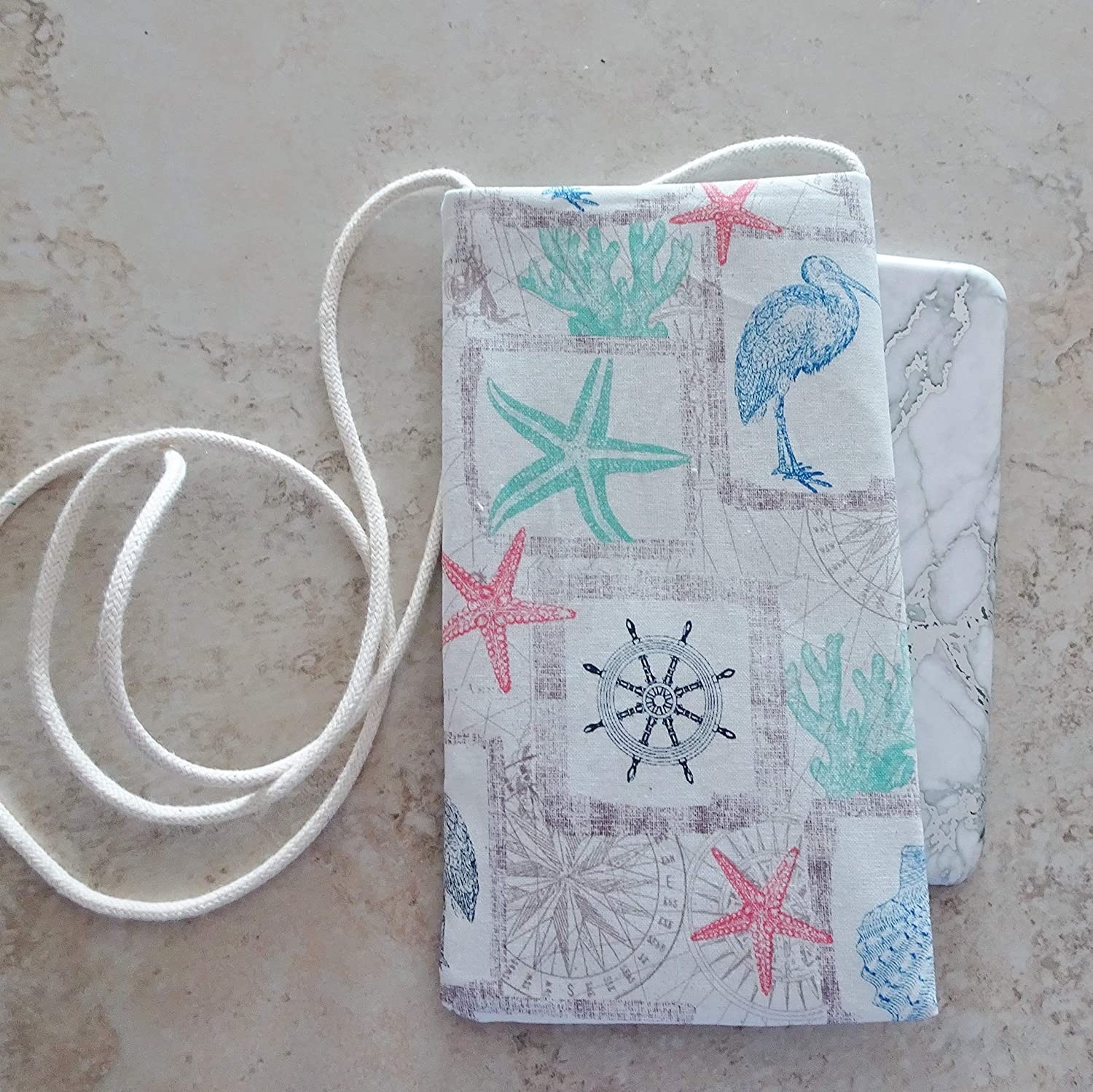 Strapped Pouch Summer Vacation Cell Pouch Coastal Beach Fabric Pouch Flip Flop Phone Purse Bag for Eyeglasses Small Purse Beach
