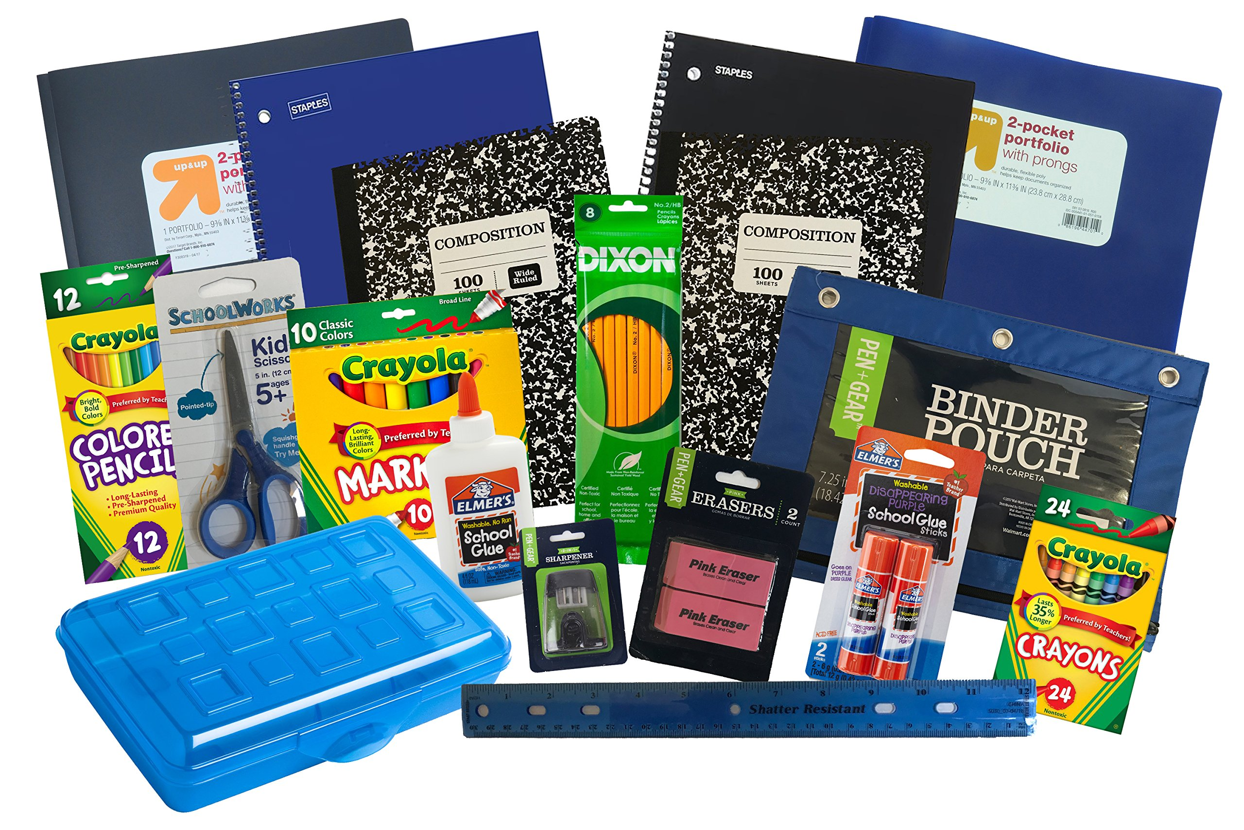 Mixed Deluxe Back to School Essentials Set 18 Item Bundle K-5 (Blue and Black)