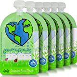 Healthy Planet Solutions Clear Plastic Reusable Baby Food Storage Pouch - Washable Freezable Refillable Resealable - Double Leak Proof Zipper - Great for Kids and DIY Homemade Organic Puree - 6 oz