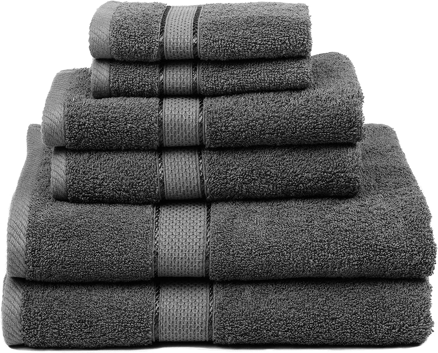 Ultra Absorbent and Eco-Friendly Natural Premium Bamboo Cotton 6 Piece Towel Set White
