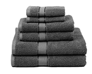 Premium Bamboo Cotton 6 Piece Towel Set (2 Bath Towels, 2 Hand Towels and 2 Washcloths) - Natural, Ultra Absorbent and Eco-Friendly (Coal)