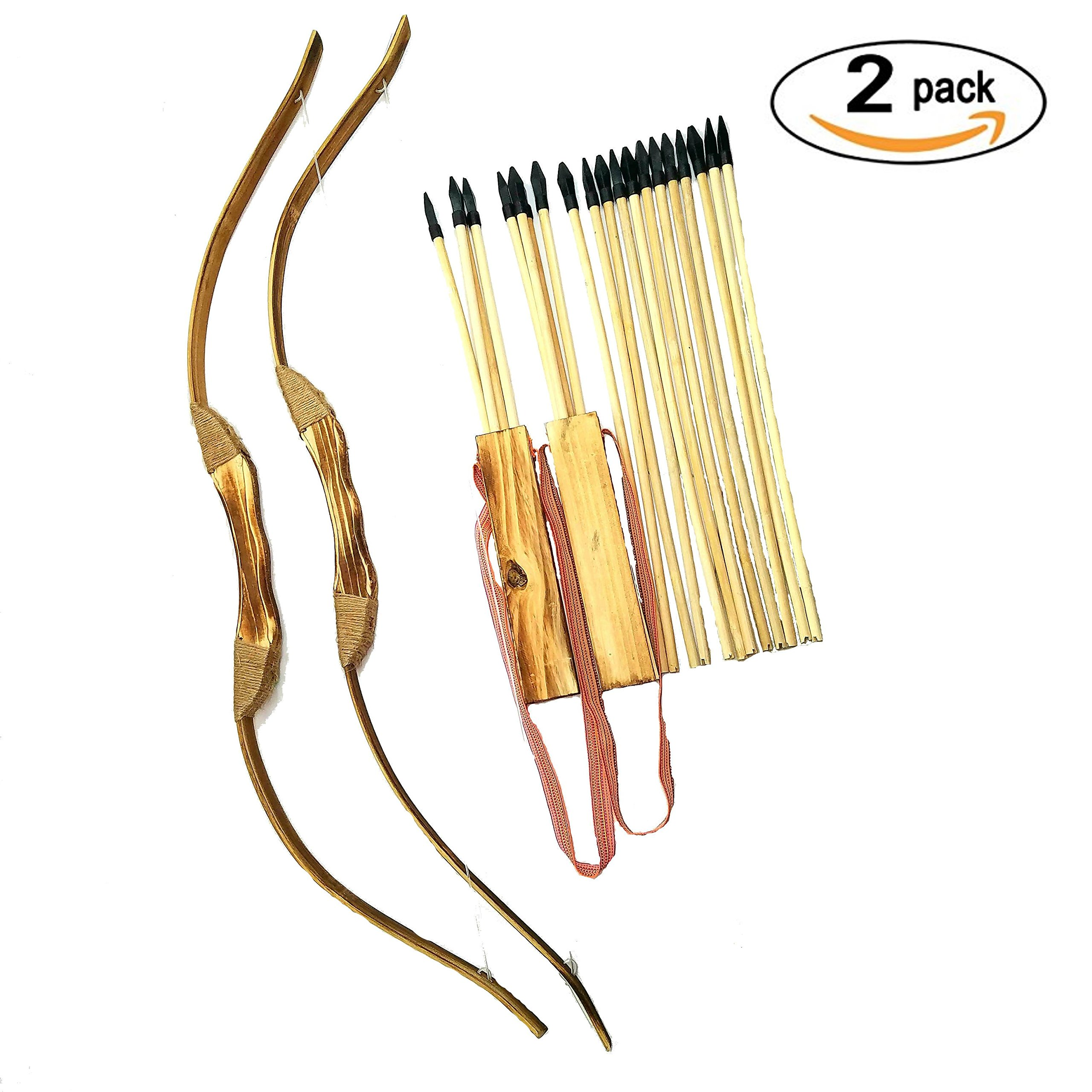 Adventure Awaits - 2-Pack Handmade Wooden Bow and Arrow Set - 20 Wood Arrows and 2 Quivers - For Outdoor Play