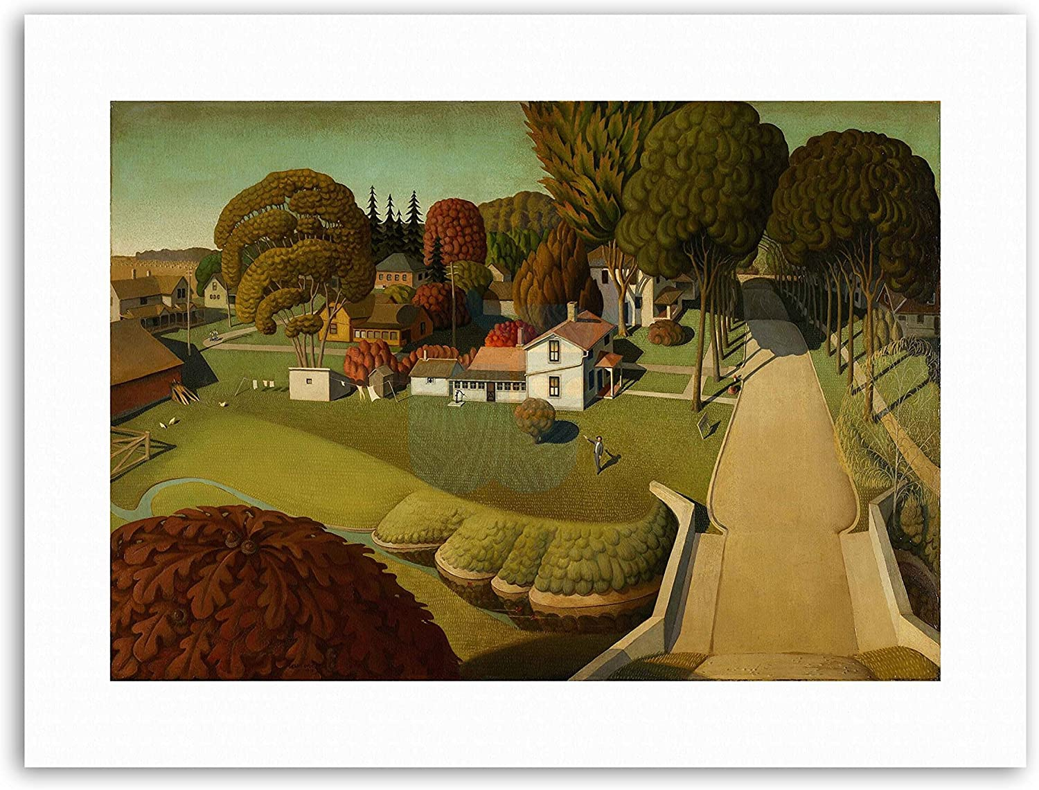Wee Blue Coo Grant Wood Birthplace of Herbert Hoover Canvas Art Prints