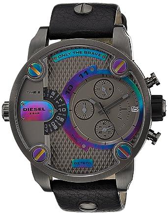 75b35c86a Amazon.com: Diesel SBA Gunmetal Dial SS Black Leather Chrono Quartz Male  Watch DZ7270: Diesel: Watches