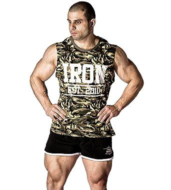 d8197785b91cd1 Amazon.com  Iron Muscle Tank Camo - Mens Gym Bodybuilding Workout Fitness  Shirt Cotton  Clothing