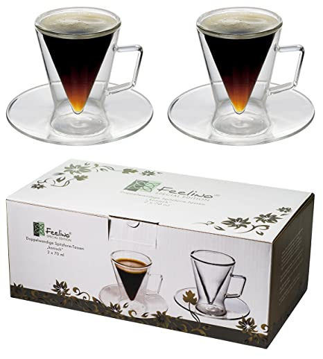 elegant espresso cups coffee lovers 2x 70ml doublewalled conical glass quotconicalquot cups with handle and saucer