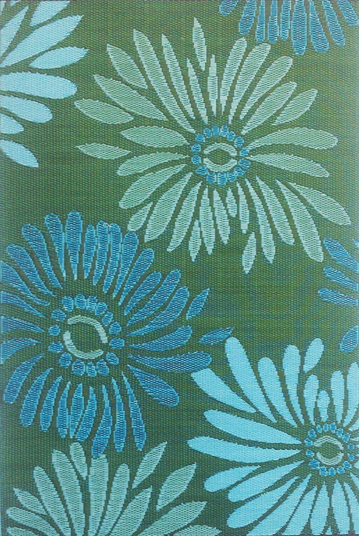 Mad Mats Daisy Indoor Outdoor Floor Mat, Aqua Green, 4 by 6