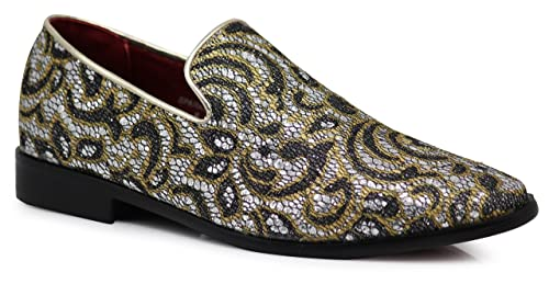 1a525b3a88c65 SPK05 Men's Vintage Satin Silky Floral Print Embroidery Loafers Slip On  Shoes Classic Tuxedo Dress Shoes