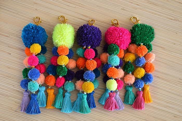 Amazon.com  Pom pom bag charm Pom pom key chain Tassel key chain Purse  charm Handbag charm Bag accessories  Handmade 3cea657e6b99
