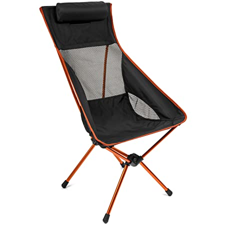 Cascade Mountain Tech Outdoor Lightweight Portable High Back Camp Chair with Headrest