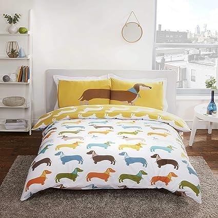 Funda para edredón de perro salchicha, reversible, hecha de polialgodón, color amarillo ocre