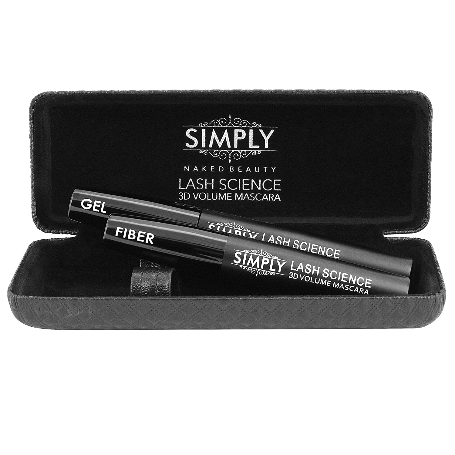 Best 3d Fiber Lash Mascara by Simply Naked Beauty. Last All Day, waterproof, smudge proof & hypoallergenic ingredients. High quality non-toxic and natural. Midnight Black
