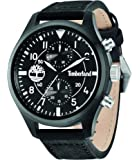 Timberland Men's Quartz Watch with Black Dial Chronograph Display and Black Leather Strap 14322JSB/02