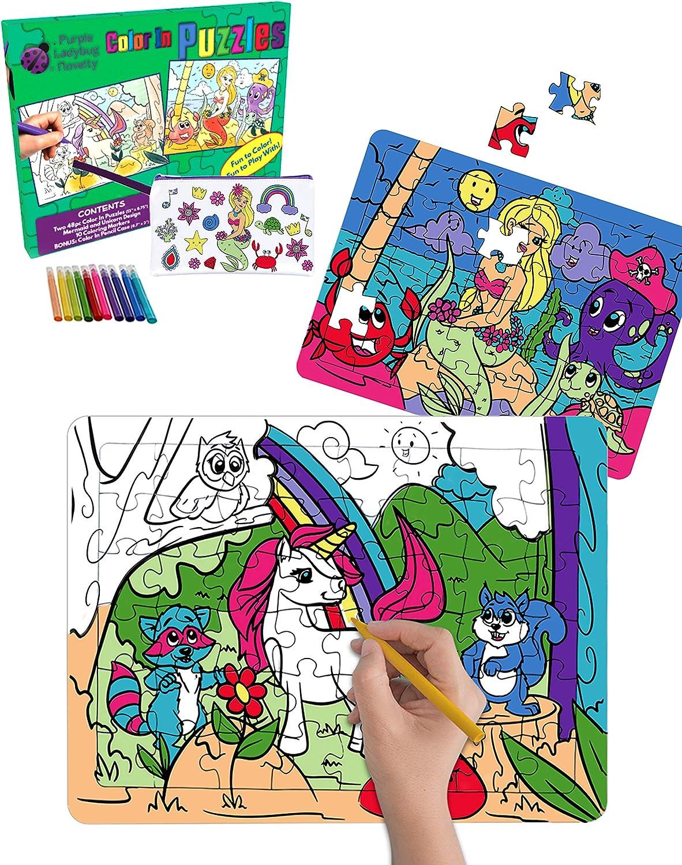 Purple Ladybug Novelty – 2 Puzzles para niños con Unicornio y Sirena – Juguetes creativos para Niñas con 10 Rotuladores de Colores y Estuche Escolar Gratis – Arte Divertido Niñas