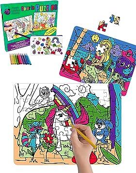 Purple Ladybug 2 Puzzles para niños con Unicornio y Sirena – Juguetes creativos para Niñas con 10 Rotuladores de Colores y Estuche Escolar Gratis! Arte Divertido, Niñas: Amazon.es: Juguetes y juegos