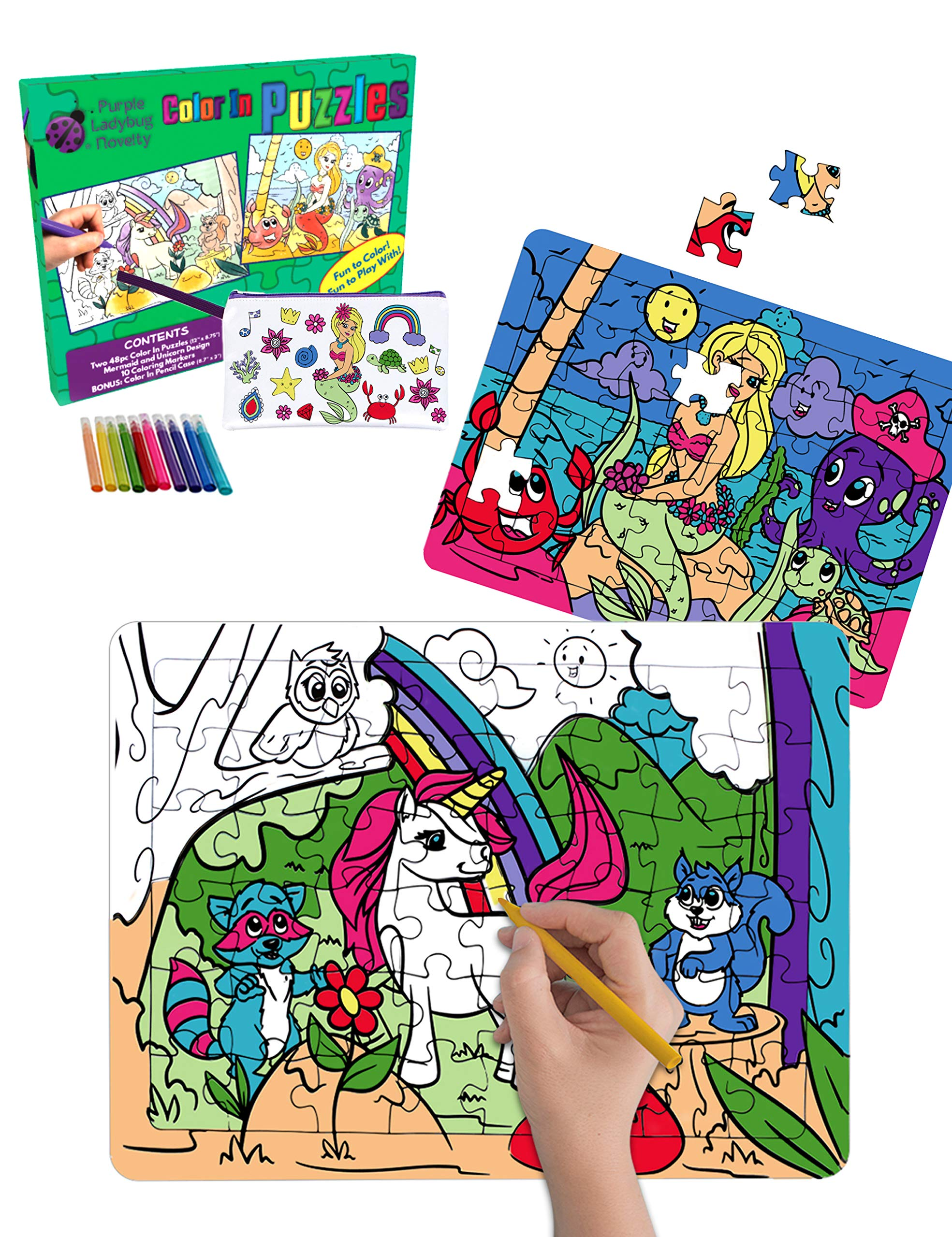 Purple Ladybug Jigsaw Puzzles Craft Kit for Girls with Unicorn & Mermaid Designs - 2 Colour in Toys for Kids + a Bonus Pencil Case - Great Easter Gift Idea for Girl, Fun Arts & Crafts Set for Children