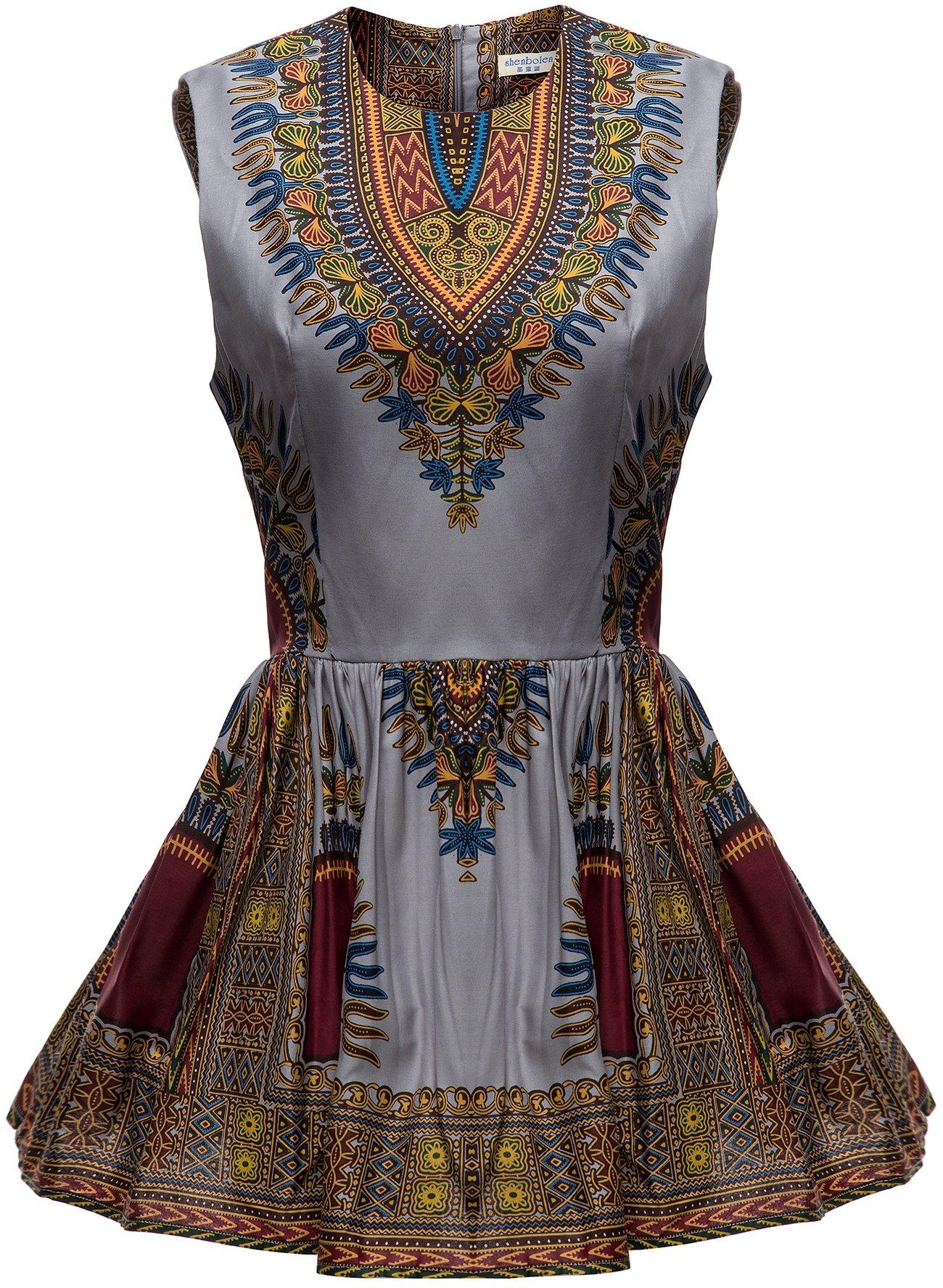 Shenbolen Women African Print Shirt Dashiki Traditional Top(A,Medium)