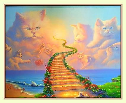amazon com rainbow bridge all cats go to heaven 11x14 matted art