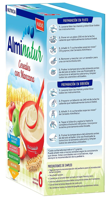 Alminatur Papilla de cereales con manzana a partir de los 6 meses Paquete de 5 x 250 g- Total: 1.25 kg: Amazon.es: Alimentación y bebidas