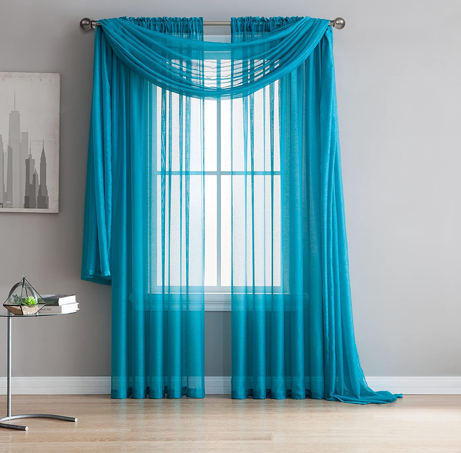 Amazon.com: Jane - Rod Pocket Semi-Sheer Curtains - 2 Pieces - Total ...