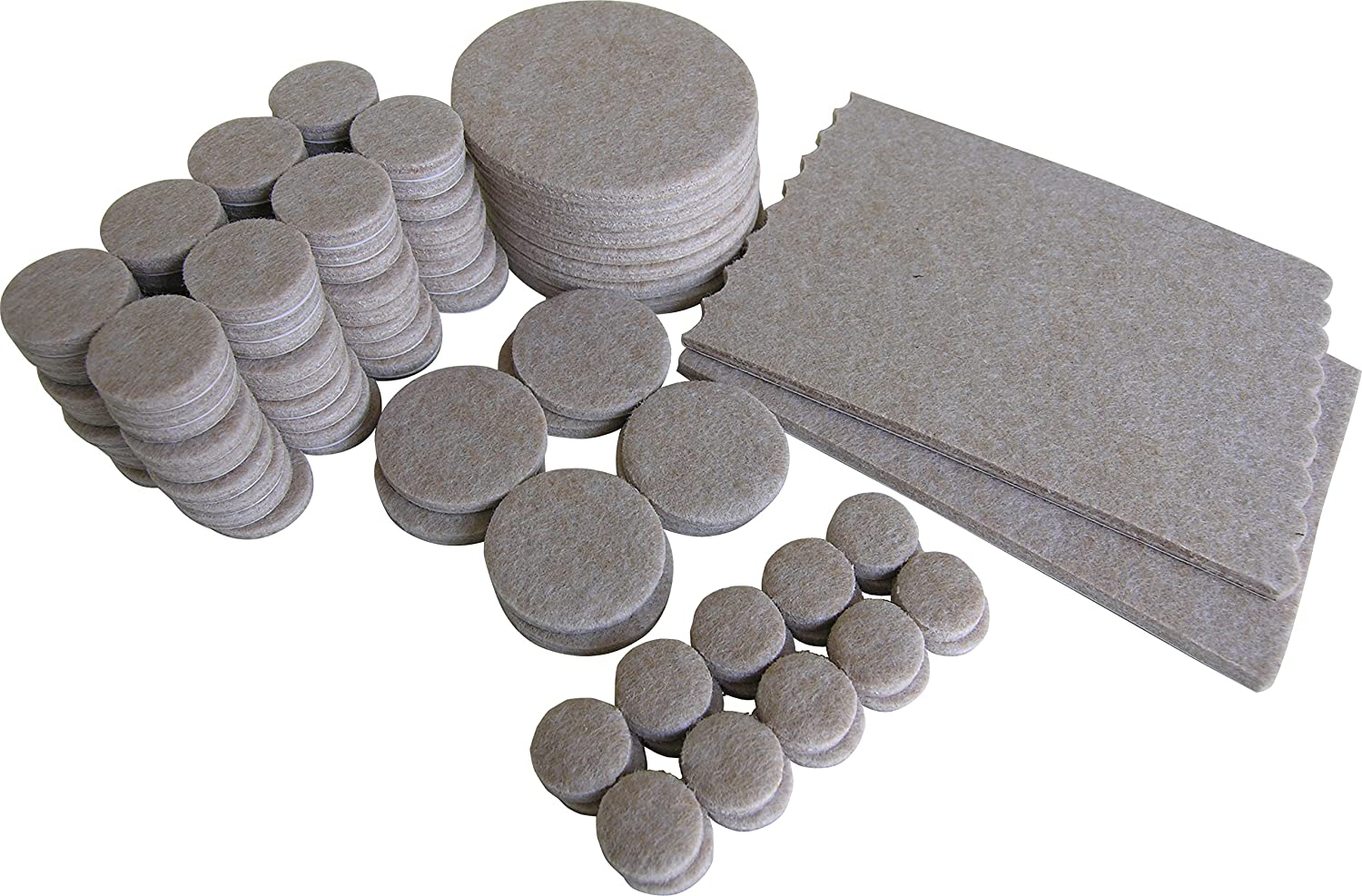 Shepherd Hardware 9839 Self-Adhesive Felt Furniture Pads, Assorted Sizes, 118-Pieces