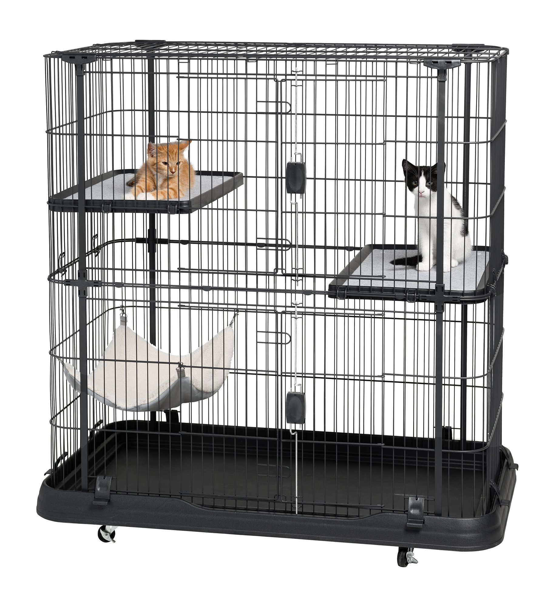 Prevue Pet Products 7501 Deluxe Cat Home with 3 Levels, Black