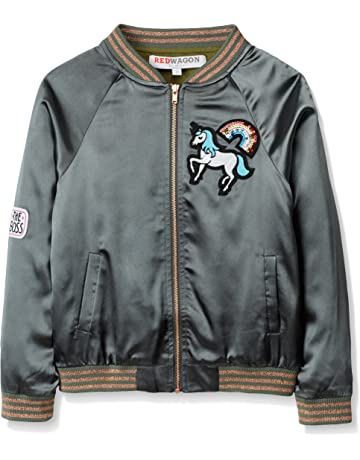 754072dab8 RED WAGON Girl s Unicorn Satin Bomber Jacket