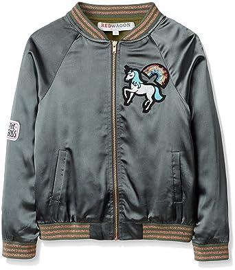 540873620 RED WAGON Girl's Unicorn Satin Bomber Jacket