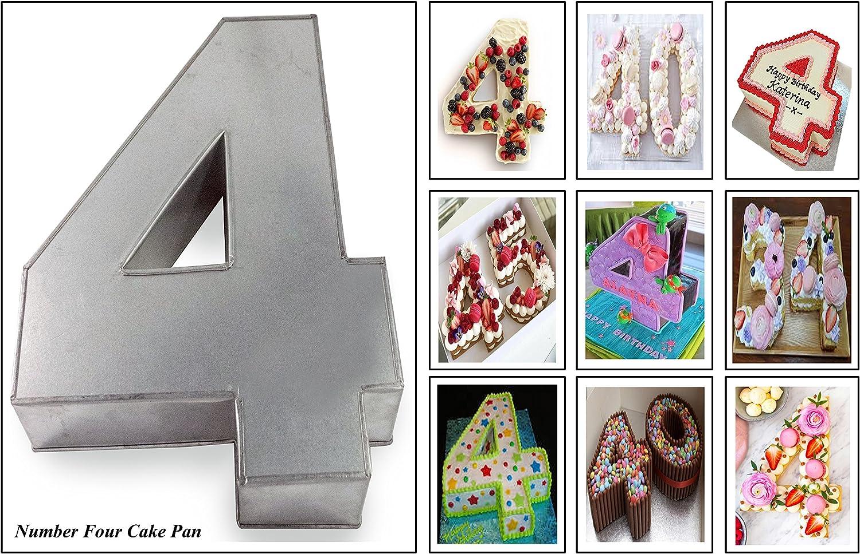 "Professional Small Number Four 4 Wedding Birthday Anniversary Cake Baking Pan / Tin 10"" X 8"""