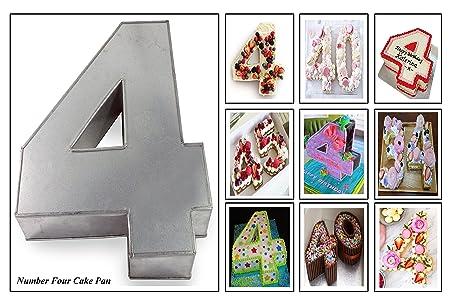 Euro Tins Molde para Tarta de cumpleaños de número Grande Cuatro 4 (tamaño 35,5 x 25,4 cm - 7,6 cm de Profundidad)