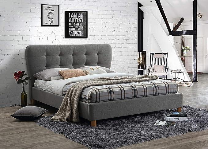 Birlea Berlin Steel Grey Crushed Velvet Bed Small Double 4FT 120CM Frame