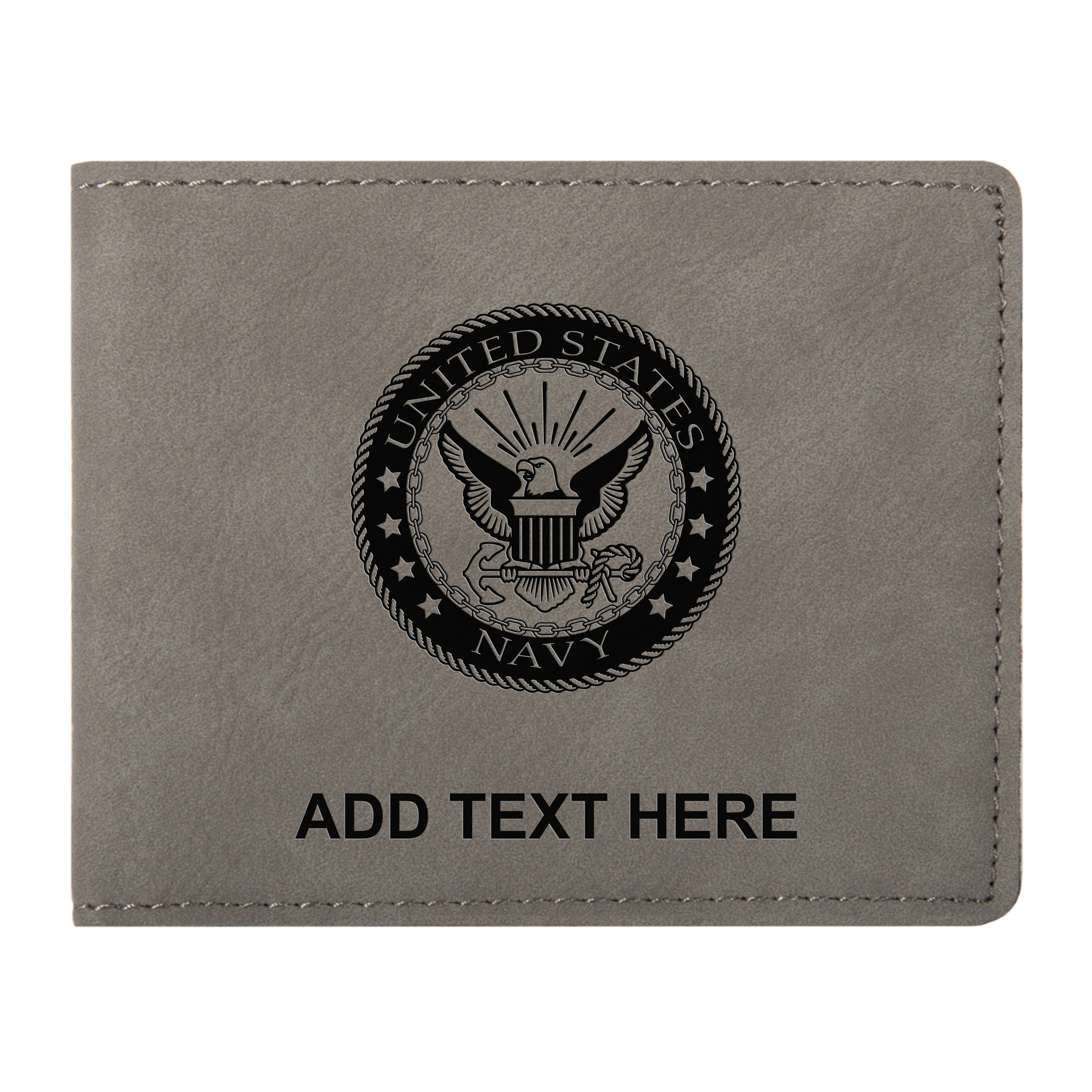 Personalized US Navy Logo Grey Vegan Leather Slim Bifold Wallet