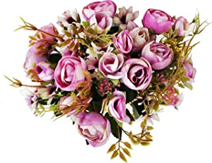 Faberry 5 Branch 12 Heads Artificial Fake Flowers Plants Rose Wedding Floral Decor Bouquet Pack of 3 (Rose)