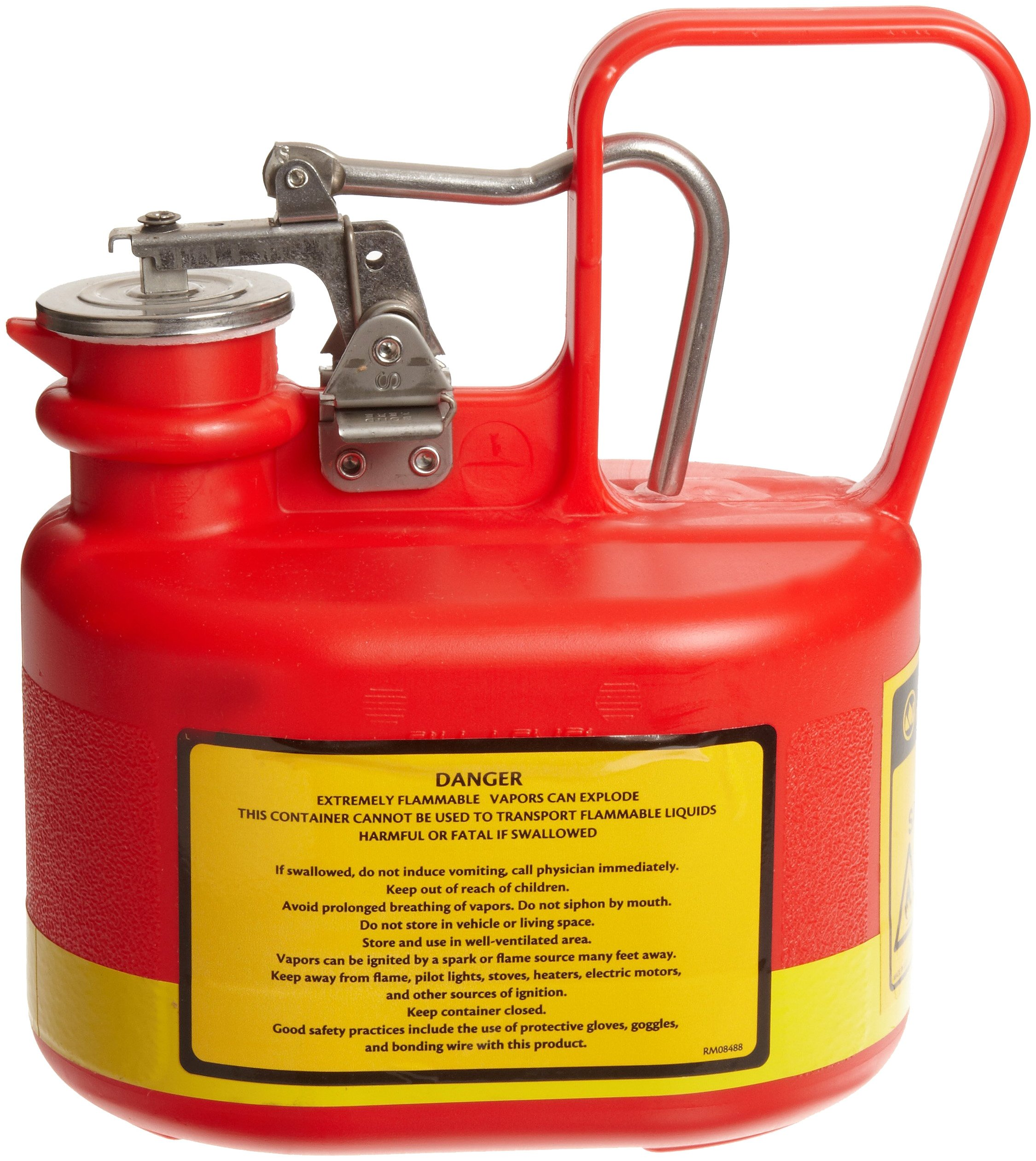 Justrite 14065 1/2 Gallon, 4 5/8'' x 7 5/8'' x 9.50'' Size Type I Red Oval Polyethylene Safety Can With Stainless Steel Hard