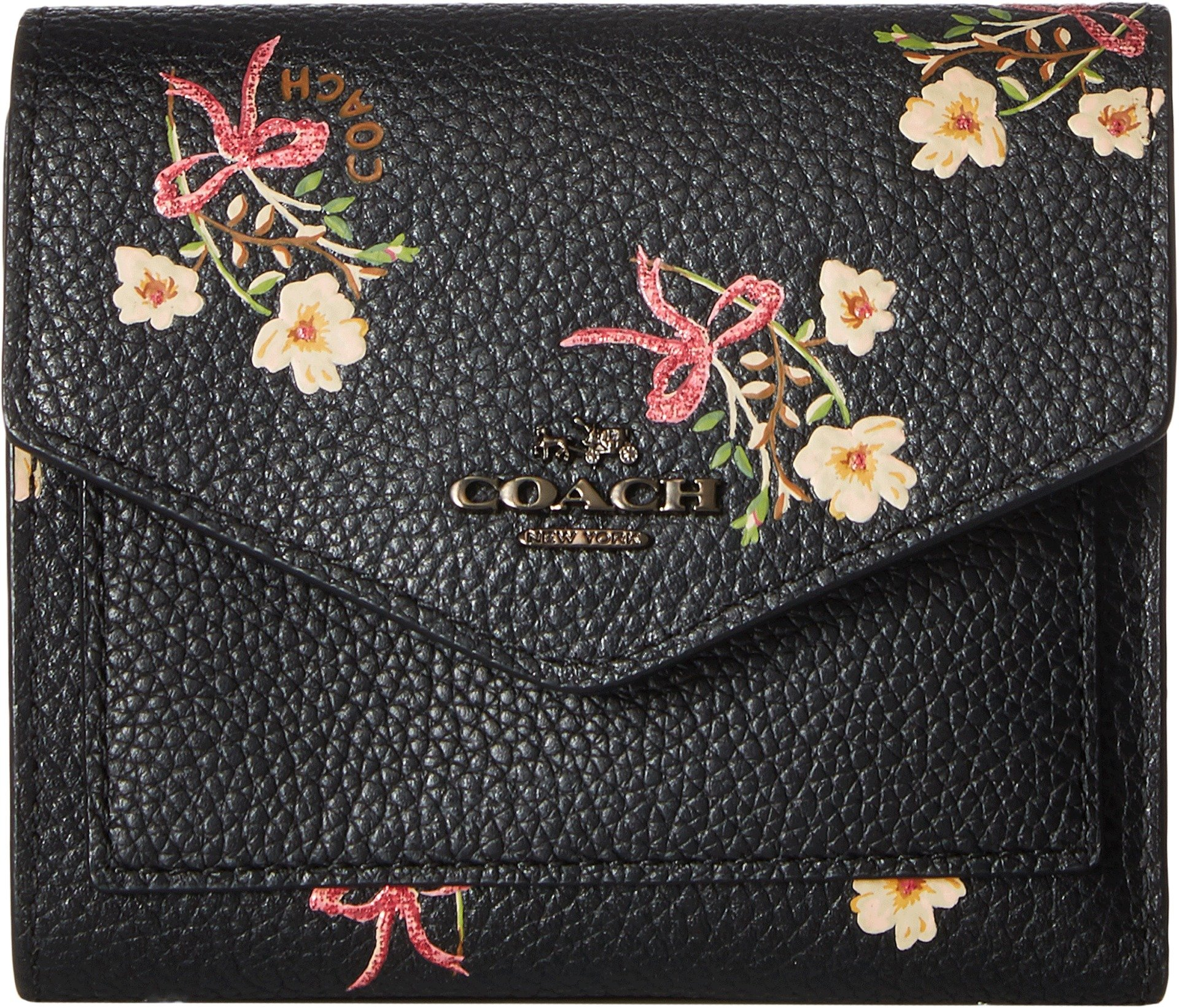 COACH Women's Small Wallet With Floral Bow Print Bp/Black One Size by Coach