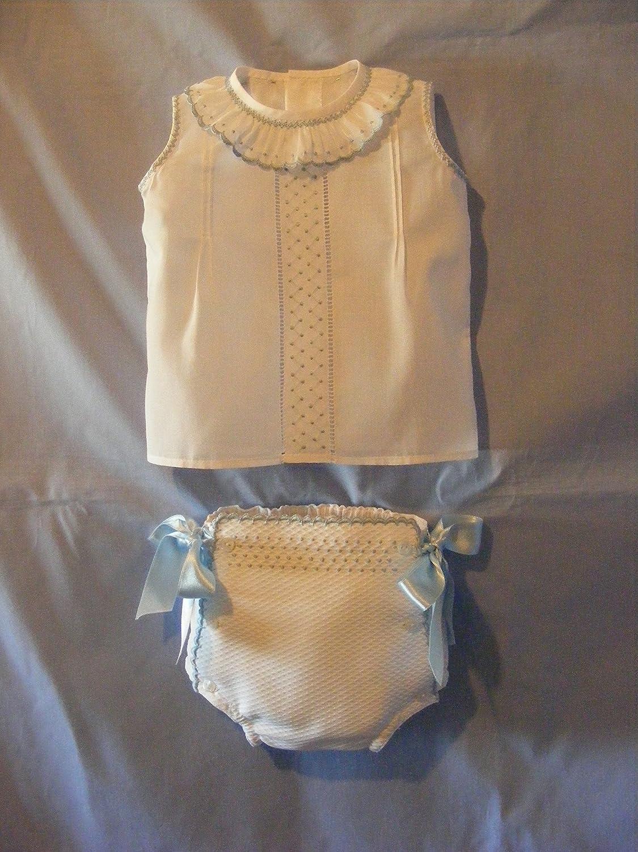Conjunto de camisa y braguita de piqué blanco con detalles celestes: Amazon.es: Handmade