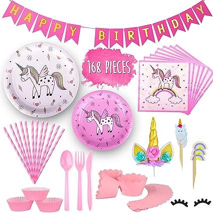 Amazon.com: Juego de accesorios de fiesta de unicornio de la ...