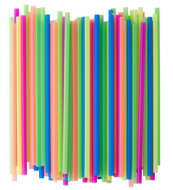 Crystalware, Neon Plastic Straws, 7 3/4 Inches, Jumbo Pack 400 Straws