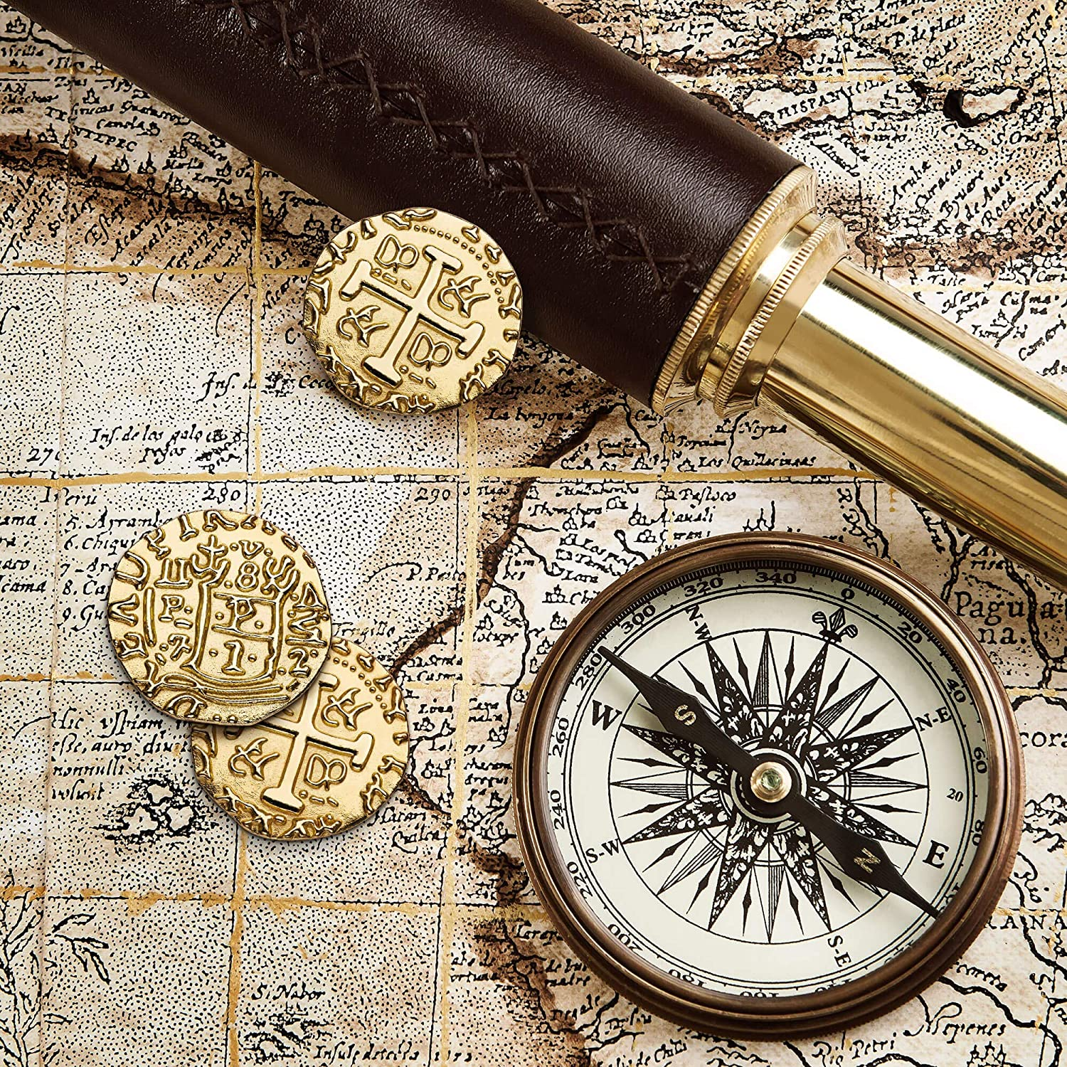 Metal Replica Spanish Doubloons for Board Games 100 Large Gold Treasure Coin Set Tokens Diameter: 1.18 Realistic Money Imitation Cosplay Metal Pirate Coins Toys Pirate Treasure Chest