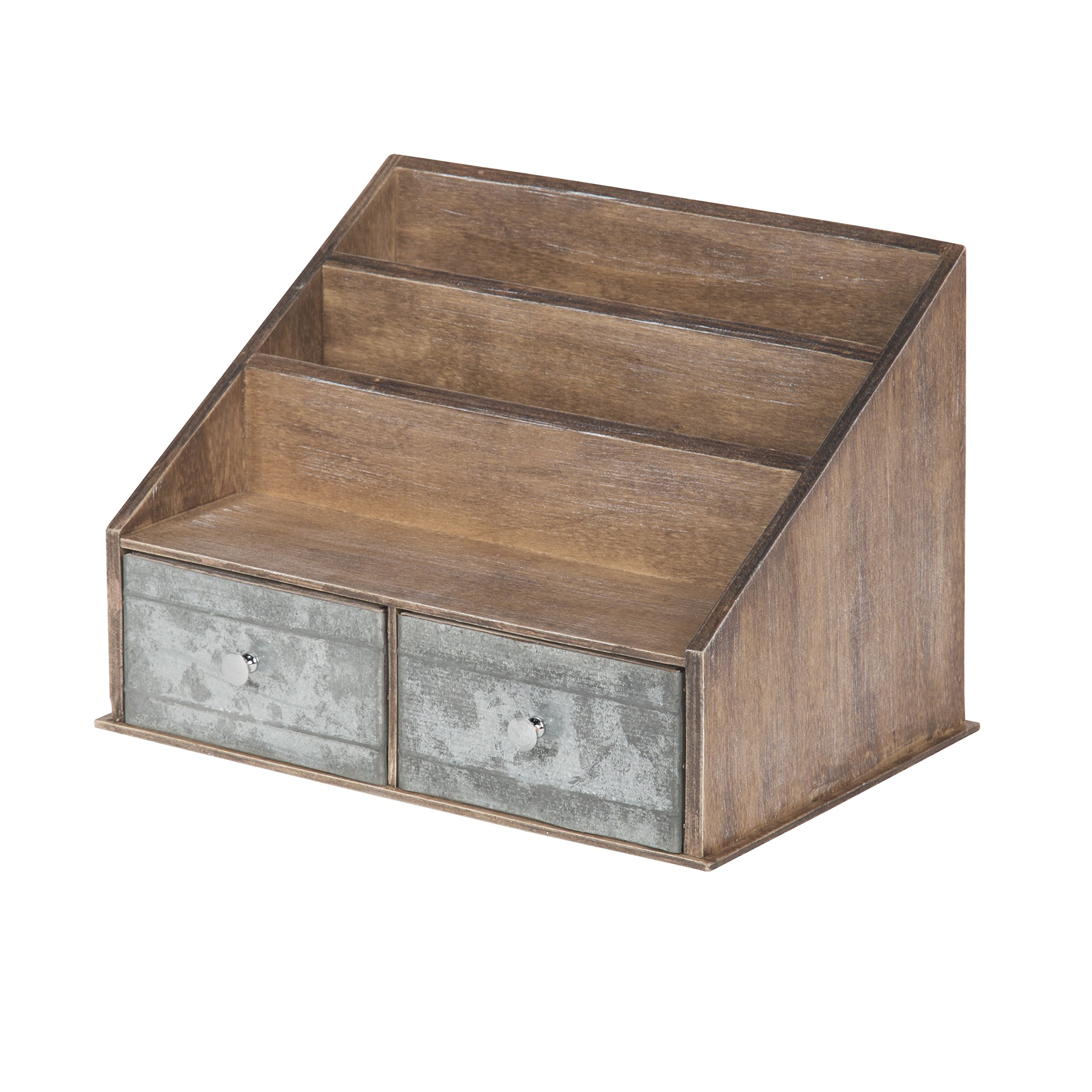 Kate and Laurel Industrious Desktop File Folder Organizer with 2 Pockets and 2 Drawers, Rustic Brown and Galvanized Metal by Kate and Laurel