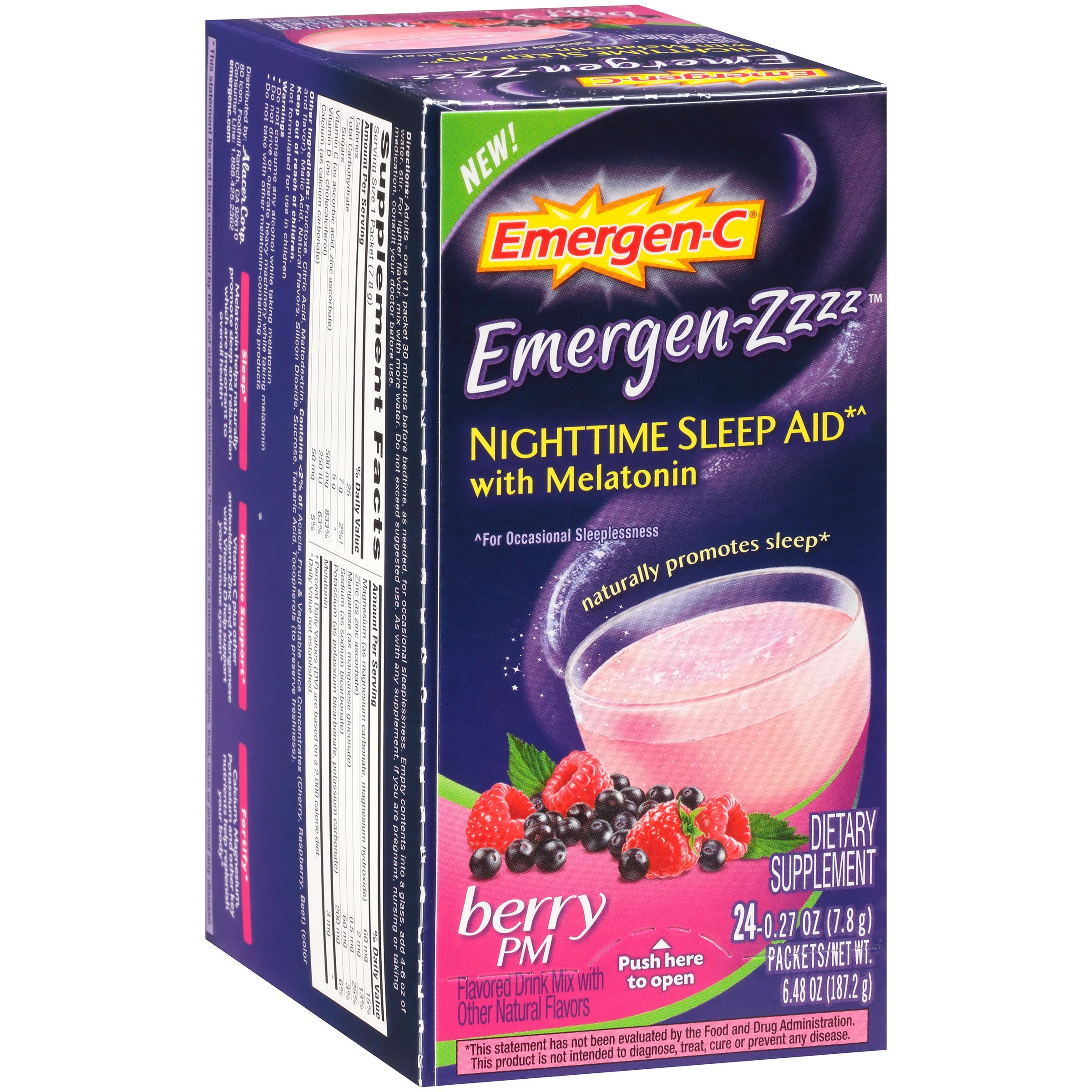 Emergen-Zzzz Nighttime Sleep Aid with Melatonin PM (Berry Flavor, 24-Count 0.27 oz. Packets, Pack of 12)