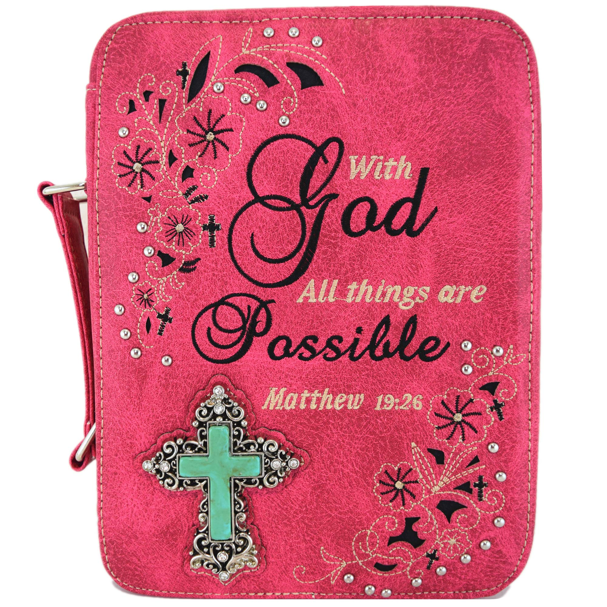 Western Style Bling Rhinestone Cross Country Women's Bible Cover Books Case Removable Strap Messenger Bag (Scriptures Fuchsia) by Western